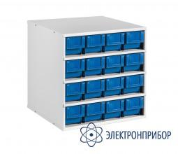 Металлическая тумба-сегмент поворотной стойки с 16 узкими пластиковыми кейсами СП-01/C-1