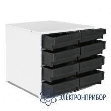 Металлическая тумба-сегмент поворотной стойки с 8 широкими пластиковыми кейсами антистатическое исполнение СП-01/C-2 ESD