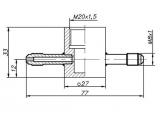 Проточная камера М20х1,5 со штуцерами М8х1