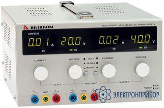 Двухканальный источник питания постоянного напряжения 0-40 в и тока 0-3 а АТН-2243