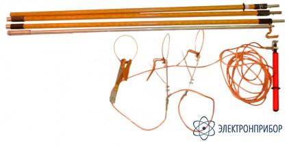 Заземление переносное для воздушных линий с 3-мя фазными зажимами в виде колец и 3-мя штангами ЗПЛ-10Н-К (сеч. 25мм2)